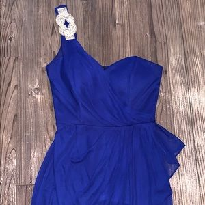 Xscape Dresses - 👗 Royal Blue and Silver Cocktail Dress, Size 2